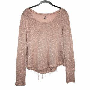 ME TO WE | Blush Pink Raw Edge Hem Cropped Sweater